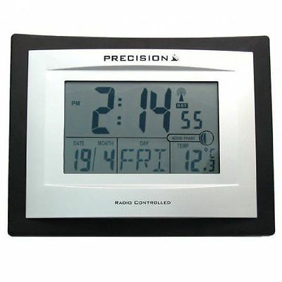 Precision AP046 Radio Controlled Digital LCD Wall Desk Clock Date Temperature