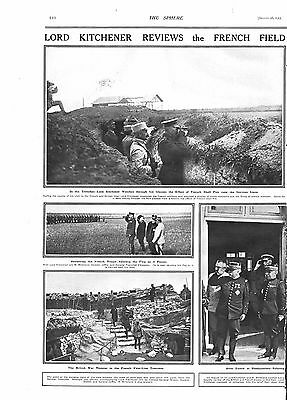 1915 Antique Print - Ww1- Kitchener Reviews French Field Armies, 2 Pages