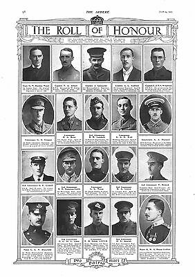 1915 Antique Print - Ww1- Roll Of Honour #11