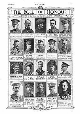 1915 Antique Print - Ww1- Roll Of Honour #12