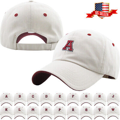 ABC Letter Embroidery INITIAL Ivory Dad Hat Baseball Cap Adjustable