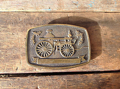 "Vintage 1978 BTS Solid Brass Buckle ""Antique Fire Truck"""