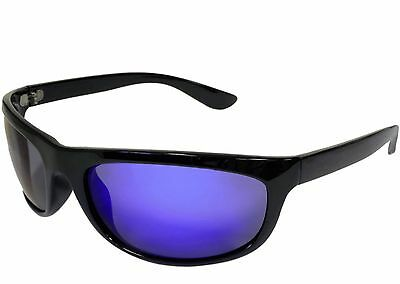 Mens Polarized Fishing Sunglasses Lightweight TR90 Sport Blue Mirror Black