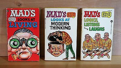 """1969 lot 3 first printing MAD MAGAZINE paperback DAVE BERG """"Looks At"""" BOOKS vg"""
