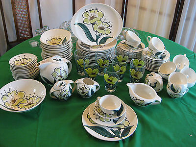 "Blue Ridge Southern Potteries 96 Piece ""Evening Flower"" Service for 12 + Extras!"