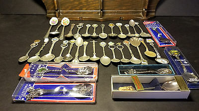 Lot - 34 Souvenir Collector Spoons Vintage/Recent USA & Int'l Some Silver Plated