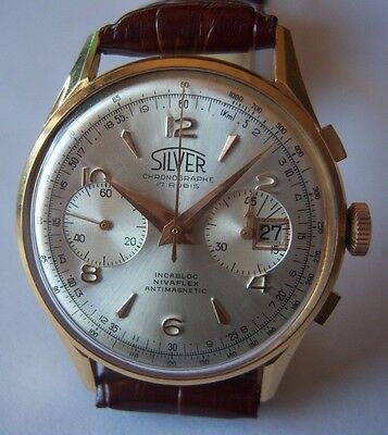 Silver chronograph date 18K solid gold Landeron 187  37mm.