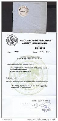 J) 1867 Mexico, Cuernavaca Provisional, Mepsi Certificated, 1 Real Black, Cut Ro