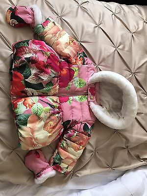 Ted Baker Baby Girl Coat With Mittens Floral 9-12 Months Immaculate