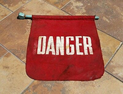 Vintage Cummins Engine Co. Red Danger Flag Machine Tag Out on Wooden Rod