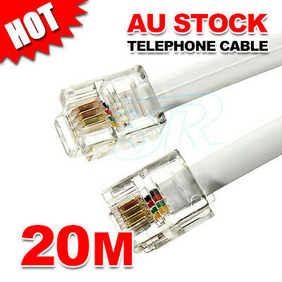 20M Phone Telephone Cable Extension Cord RJ11 Lead Plug ADSL2 Filter Modem Fax