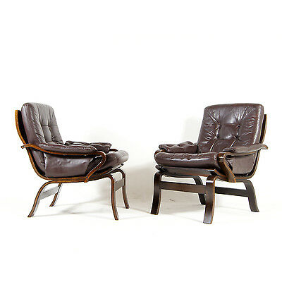 1 of 2 Retro Vintage Danish Leather Lounge Armchair Chair 60s 70s Rosewood