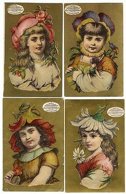 4 VICTORIAN GIRLS with Flower Hats DEMOREST Dress Pattern Trade Cards 1880's