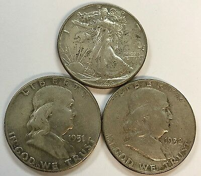 3 Silver Half Dollars - 90% Silver Coins - Buy It Now - Best Offer