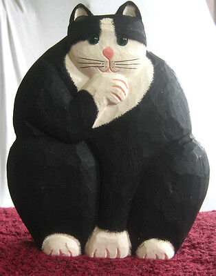 """James Haddon Collection 8"""" Hand Carved Wood Cat Sculpture Glass Eyes Folk Art"""