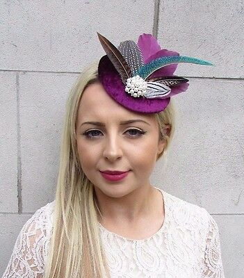 Berry Plum Purple Pheasant Feather Pillbox Hat Fascinator Hair Clip Races 3729
