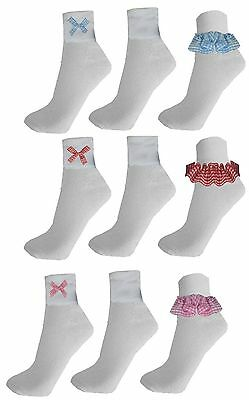 3 & 6 Pairs Girls Kids Lace Socks Trim Frill Bow Lace School Uniform Socks