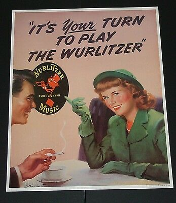 1940's Set Of 4 Famous Wurlitzer Pin Up Posters Reissue Licensed Wurlitzer Nice