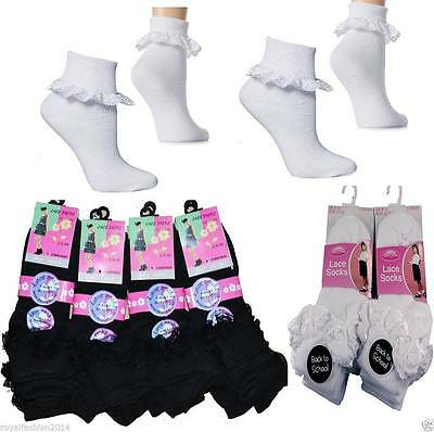 3 and 6 Pairs Girls  Cotton School Socks for Kids, Frilly Lace Ankle