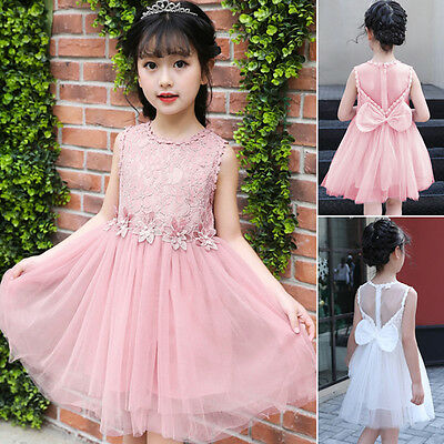 Girls Lace Bow Flower/Bridesmaid/Formal Party/Princess/Prom/Wedding Dresses