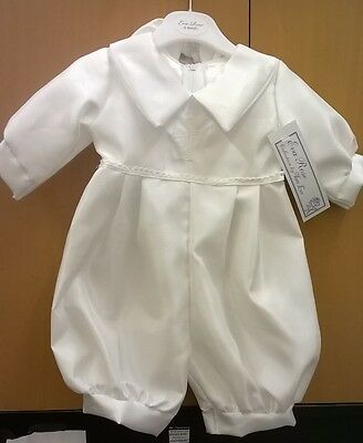 Baby Boys White Christening Romper-Suit-Outfit with Celtic Cross By Eva Rose