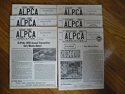 ALPCA Newsletter 1982 Lot  Volumes 1 - 6  License Plate Collectors