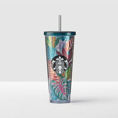 NEW Starbucks Tropical Palm Leaves Plants Cold Cup Tumbler w Straw Venti 24oz