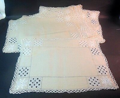 Vtg Set of 8 HARDANGER Norway Linen Placemats Embroidery Cut work