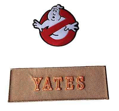 Ghostbusters New Movie No Ghost With YATES Tan Name Tag Costume 2 Patch Set
