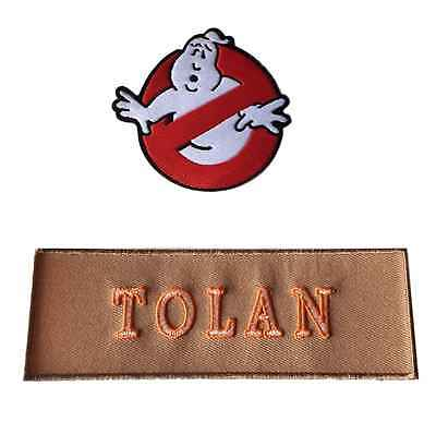 Ghostbusters New Movie No Ghost With TOLAN Tan Name Tag Costume 2 Patch Set