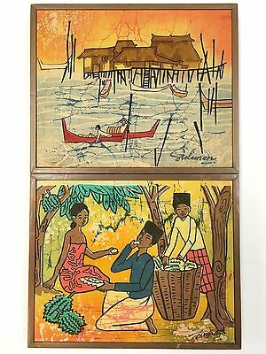 """Lot of 2 Beautiful Vintage Handpainted Cloth Paintings 11"""" X 9"""" Signed Asian Art"""