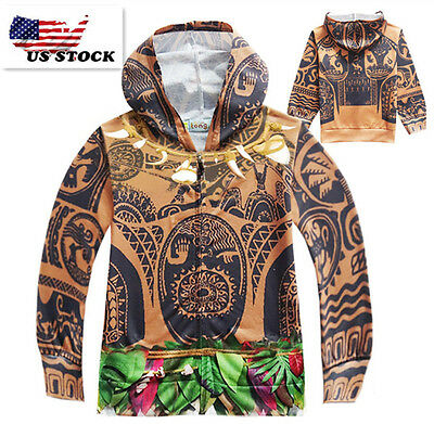 Boys Kids Spring  Moana Maui Zipper Hoodie Sweatshirt Jacket Outwear  K67