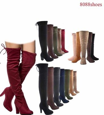 Women's Sexy Pull Up  Almond Toe Over The Knee High Heel Boots Size 5.5 - 10 NEW