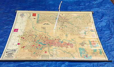 Vintage 1980 Lane County OR Hearne Brothers Official Polyconic Pull Down Map