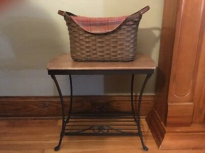 LONGABERGER  Wrought Iron Library Stand/table With Library Basket Set