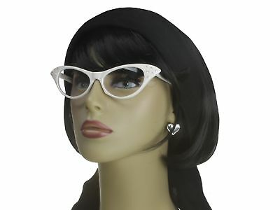 Cat Eye Glasses Rhinestone Clear Lens 50s Retro Vintage Style Women White Frame