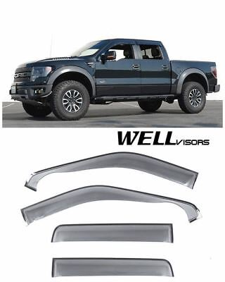 WellVisors Side Window Visors Off Road Series For 09-14 Ford F-150 Crew Cab