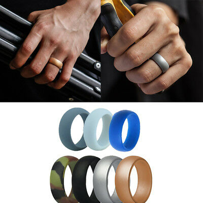 7 Pcs Silicone Wedding Ring Men Women Rubber Band Comfortable Elegant Flexible