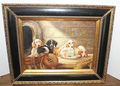 "Vtg Oil Painting on Panel ""Dogs Resting in the Barn"" Signed by J. Blacklock"