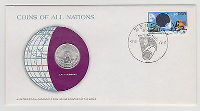 EAST GERMANY COINS OF ALL NATIONS 1978 ALUMINUM 1 MARK COIN COVER STAMP b