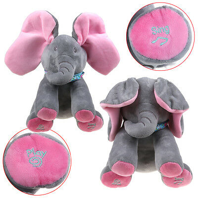 Plush Elephant Plays peek-a-boo Singing Baby Stuffed Animated Soft Toy Kids Gift