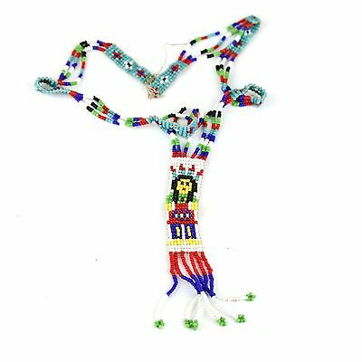 Old Vintage Native American Beadwork Necklace Chief for Repair