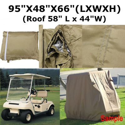 95'' Taupe 2 Passenger Golf Cart Waterproof Protect Cover For EZ Club Car Yamaha