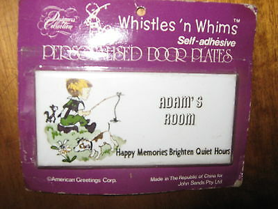 VintageWhistles' n Whims Porcelain Personalised Door Plate ADAM's ROOM