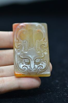 Rare Exquisite Chinese Antique  Hetian jade Hand carved Monster amulet Pendant