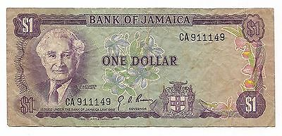 Bank Of Jamaica One $1 Dollar Paper Money Note Bill