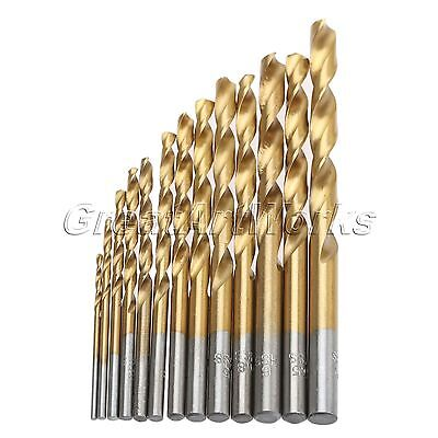 13Pc HSS Twist Drill Punch Hole Drill Bits 1.5-6.5mm Titanium Coated Round Shank
