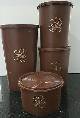 Vintage TUPPERWARE 1970s Set of 4 Retro BROWN SERVALIER Press Seal Canisters