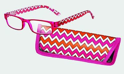 Spoontiques Reading Glasses w/  Matching Case Chevron