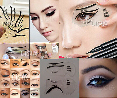 Set Of Eyeliner Template Eyeshadow Smokey Winged Cat Eye Stencil